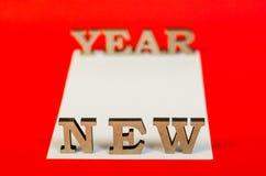 Teken van houten brieven nieuw jaar Stock Foto's