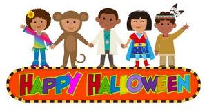 Teken van jonge geitjes het Gelukkige Halloween stock afbeeldingen