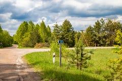 Teken van kilometers, informatie voor reizigers door auto worden gereist die stock foto