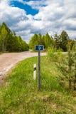 Teken van kilometers, informatie voor reizigers door auto worden gereist die stock fotografie