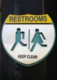 Teken van openbaar toilet stock foto's