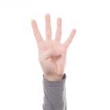 Teken vier van de handtelling geïsoleerde vinger Stock Foto's