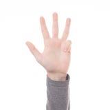 Teken vier van de handtelling geïsoleerde vinger Stock Fotografie