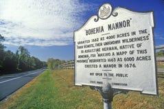 Teken voor de Manor van Bohemen, Maryland stock afbeelding