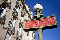 Teken voor Metro van Parijs Royalty-vrije Stock Foto's