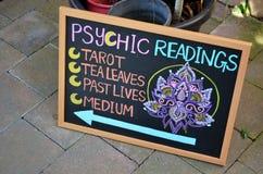 Teken voor psychische lezingen stock fotografie