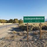Teken voor stad genoemde Onafhankelijkheid. Stock Foto