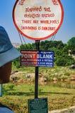 Teken voor toeristen over de kruising van rivier in India Royalty-vrije Stock Fotografie