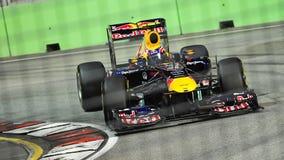 Teken Webber bij 2011 Singapore F1 Stock Foto
