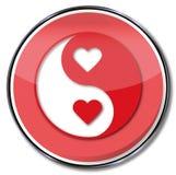 Teken yin en yang van liefde vector illustratie