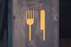 Tekencatering in de vorm van vork en mes Stock Fotografie