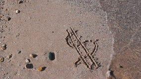 Tekendollar op het strand wordt gewassen dat Royalty-vrije Stock Foto's