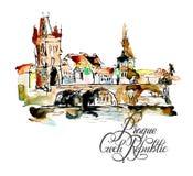 Tekening de uit de vrije hand van de waterverfschets van de bovenkant van de Tsjechische Republiek van Praag vector illustratie