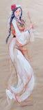 Tekening die van jonge vrouw in traditionele kleren dansen Stock Foto