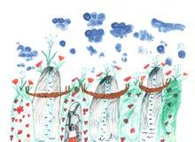 Tekening drie van kinderen bergen met brug en bloemenwolken in de hemel Stock Foto
