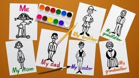 Tekening en creativiteit Mijn Familie Vader, moeder, grootouders, siblings en me Cijfers op papier De verfhulpmiddelen Werkend vl Stock Afbeeldingen
