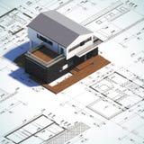 Tekening en lay-out modern minimalistisch huis Stock Afbeeldingen
