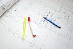 Tekening en pen Stock Afbeeldingen