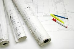 Tekening en pennen Stock Foto