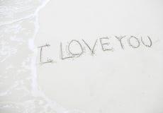 Tekening I Liefde u op strand - liefdeconcept Royalty-vrije Stock Afbeelding