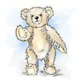 Tekening Teddy Bear met boog Royalty-vrije Stock Afbeeldingen