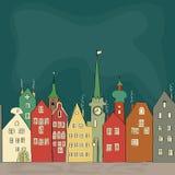 Tekening uit de vrije hand van oude kleurrijke gebouwen in Amsterdam Stock Afbeeldingen