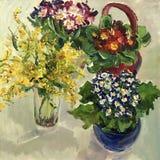 Tekening van bloemen heldere samenstellingen Stock Foto's
