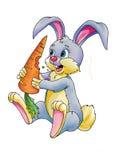 Tekening van cartoony konijntje met wortel Stock Foto