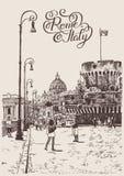 Tekening van cityscape met vesting van Sant'Angelo in Rome, Italië royalty-vrije illustratie