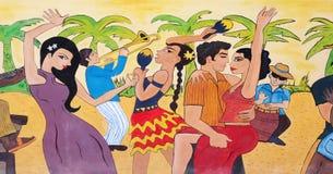 Tekening van dansende jongeren Stock Fotografie