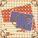 Tekening van de de kaart de comfortabele scrapbooking contour van de theekransjeuitnodiging Royalty-vrije Stock Foto