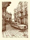 Tekening van de historische bouw van Lviv, de Oekraïne Stock Afbeelding