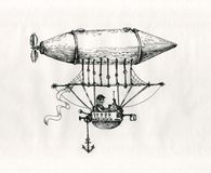 Tekening van de de stijlinkt van het luchtschip de uitstekende beeldverhaal royalty-vrije stock afbeeldingen