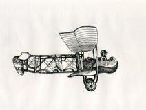 Tekening van de de stijlinkt van het vliegtuigen de uitstekende beeldverhaal stock afbeeldingen