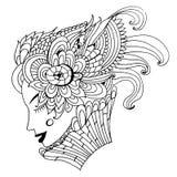 Tekening van een abstract de lentemeisje met een ongebruikelijk gevormd fantastisch kapsel, schetshand getrokken krabbel stock illustratie