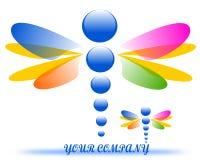 Tekening van een embleem van het libelbedrijf vector illustratie