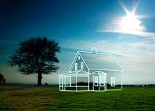 Tekening van een huis in aard Stock Foto's