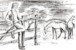 tekening van een jonge koejongen met paarden royalty-vrije illustratie