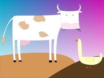 Tekening van een koe en een gans stock illustratie