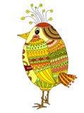 Tekening van een leuke beeldverhaalvogel Stock Afbeelding
