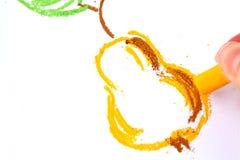 Tekening van een peer een oliepastelkleur Stock Afbeelding