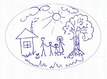 Tekening van een vader en een zoon vector illustratie