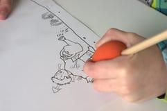 Tekening van een vader en een zoon Royalty-vrije Stock Afbeeldingen