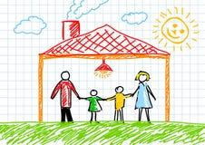 Tekening van familie stock illustratie