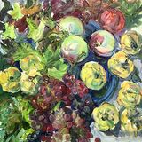 Tekening van gele kweepeer, druiven, appelen Royalty-vrije Stock Foto