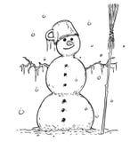Tekening van Glimlachende Sneeuwman met Bezem en Pot Stock Fotografie