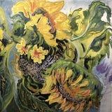 Tekening van grote gele zonnebloemen Stock Foto