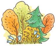 Tekening van het de herfst de bosbeeldverhaal royalty-vrije illustratie