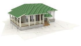 Tekening van het huis en zijn 3D model Royalty-vrije Stock Afbeelding