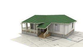 Tekening van het huis en zijn 3D model Stock Afbeeldingen